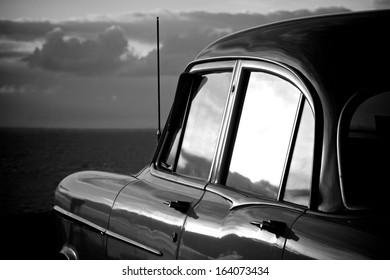 Car at Beach Black and White