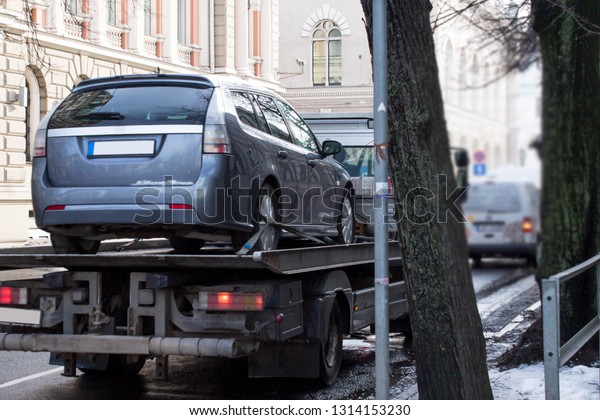 Truck And Car Shop >> Car Being Towed Away After Minor Stock Photo Edit Now
