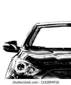 car black in white