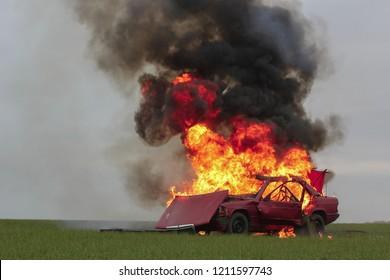 car blast burning