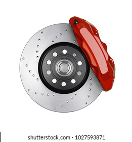 Car brake disc and red caliper isolated on white