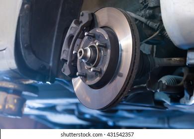 Car brake disc without wheels closeup