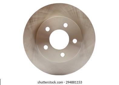 Car brake discs on white isolated background