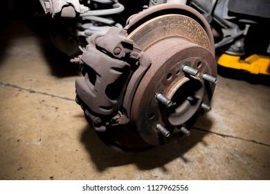 Car brake pad and disc with caliper