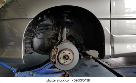 Car brake pad under maintenance