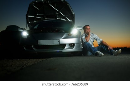 Car broke down on the highway at night