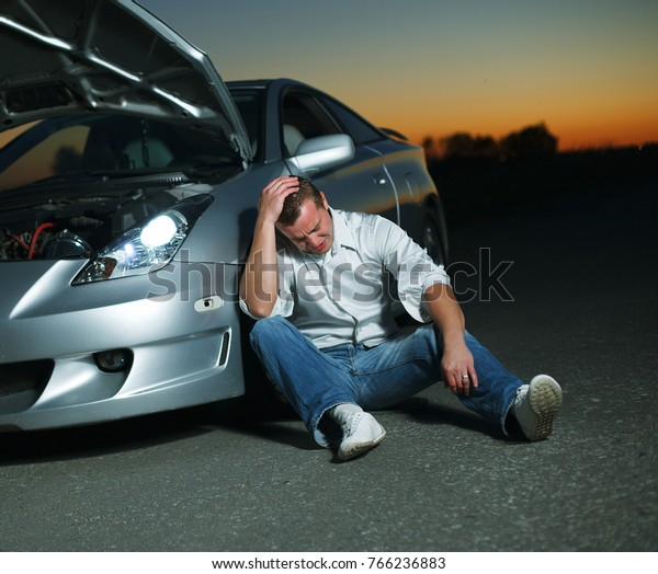 Car Broke Down >> Car Broke Down On Highway Night Stock Photo Edit Now 766236883