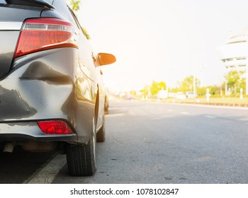 Car a broken rear bumper, damage car accident, copy space.