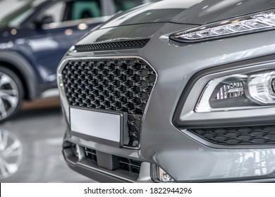 Car bumper. Close up picture of a grey car bumber