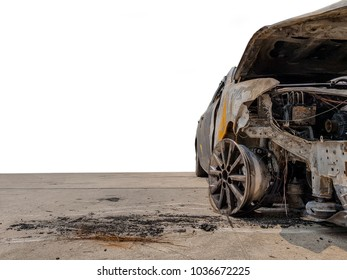The car was burnt on a white background.