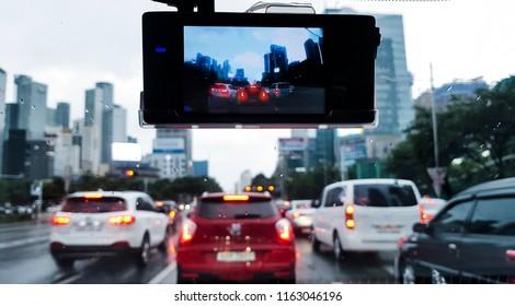 Car camera, Dash cam, in car on the road