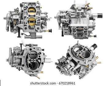 Car carburetor in different positions on a white background with shallow depth of field