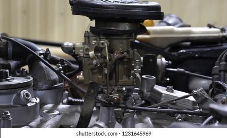 car carburetor engine is ready for repair in car repair shop