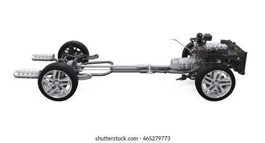 Car Chassis with Engine. 3D rendering