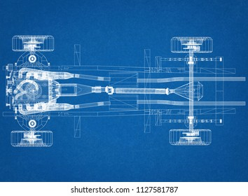 car chassis and engine Design - Blueprint