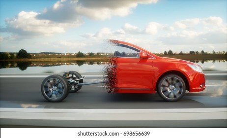 Car chassis with engine on highway. Transition with particles. Very fast driving. Auto concept. 3d rendering