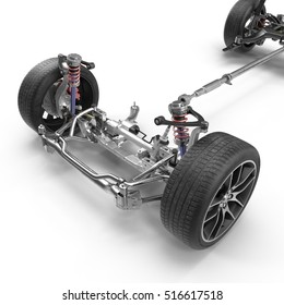 Car Chassis on white. 3D illustration
