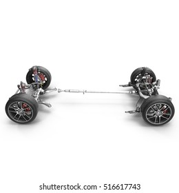 Car chassis without engine on white. Side view. 3D illustration
