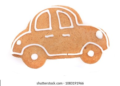 car christmas gingerbread isolated on the white background