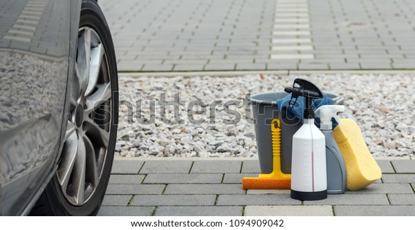 car cleaning products and an dirty car side by side