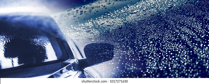 Car Cleaning. Vehicle Wash Theme Horizontal Banner with Right Side Copy Space.