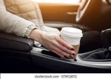 car coffee woman