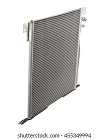 Car condenser radiator isolated on white background. Radiator top view of radiator for pick-up truck radiator set. Car air conditioner condenser.