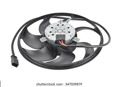 car cooling fan with plastic blades radiator fan on white background. Car thermal  clutch. radiator fan cooling on white background