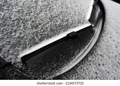 Car covered with frosty rime