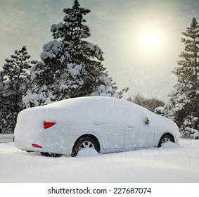 car covered with snow in the forest