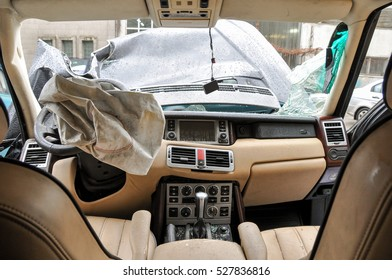 Car crash accident background for car insurance use. Inside automobile after wreck. Driver air bag deployed. Car accident, insurance concept. Claim the insurance company.