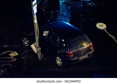 Car crash accident at night on city streets