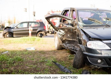 Car crash from car accident on the road in a city, wait insurance