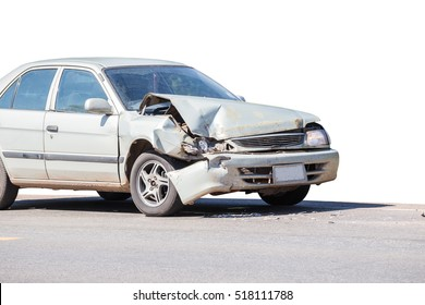 car crash accident on street, damaged automobiles after collision in city.Clipping path included,Isolate side of the car, the color of Braun White, which crashed with another car until it was demolish
