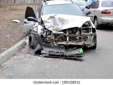 car crash. car after the accident. broken car. traffic accident.Kiev. Ukraine. March 2019