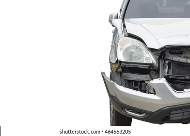 Car crash. Front side of a damaged car. Car insurance concept