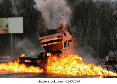 Car crash on iced highway. Stunt