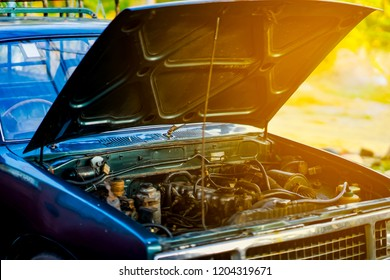 Car crash open hood car mechanic to check condition of damage. See the radiator cooling panel Engine and electronic system for mechanic to check damage thoroughly to repair engine to complete for use.
