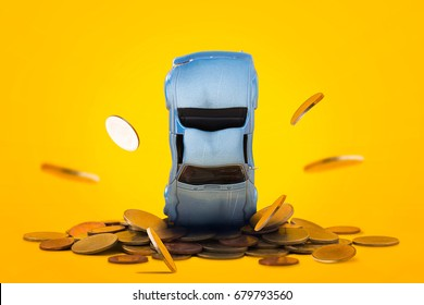 Car crash stacks golden coins with damage and gold coins falling down and explosion scene, Car crash insurance and lose money. Financial, Installment payment, Safety, Transport and Accident concept.