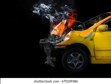 A car crash that causes a lot of damage to the car.