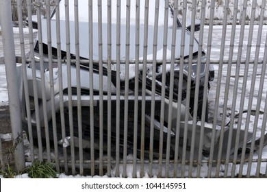 car crashed into the fence