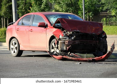 Car damaged in accident Frontal impact