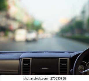 car dash panel with  blurred street view template for your design