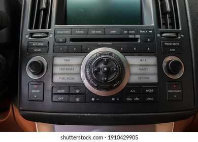car dashboard, buttons, center console