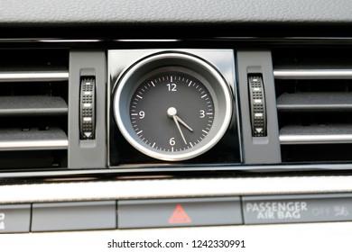 car dashboard classic clock, car interior