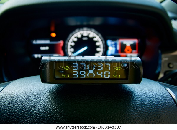 Car Dashboard Close Tire Pressure Monitor Stock Photo (Edit