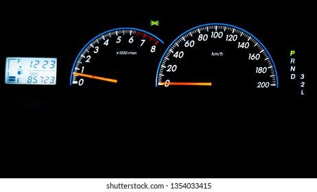 car dashboard at night.