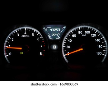 Car dashboard in the night
