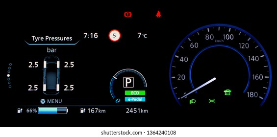 Car dashboard panel in the fully electric vehicle (EV). TPMS (Tyre Pressure Monitoring System) monitoring display on a car counter panel. The pressure measurement given in bar.