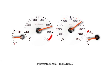 car dashboard speedometer and tachometer on white background